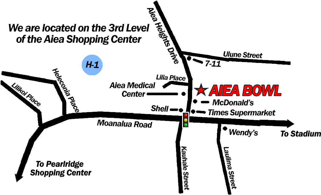 Map of Aiea Bowl and Surrounding Areas