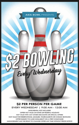 $2 Bowling Wednesdays